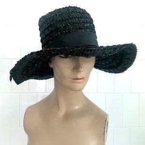 Vintage 1950's black straw wide brim sun hat